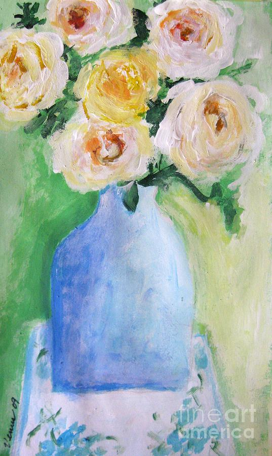 Yellow Roses Painting - Roses by Venus