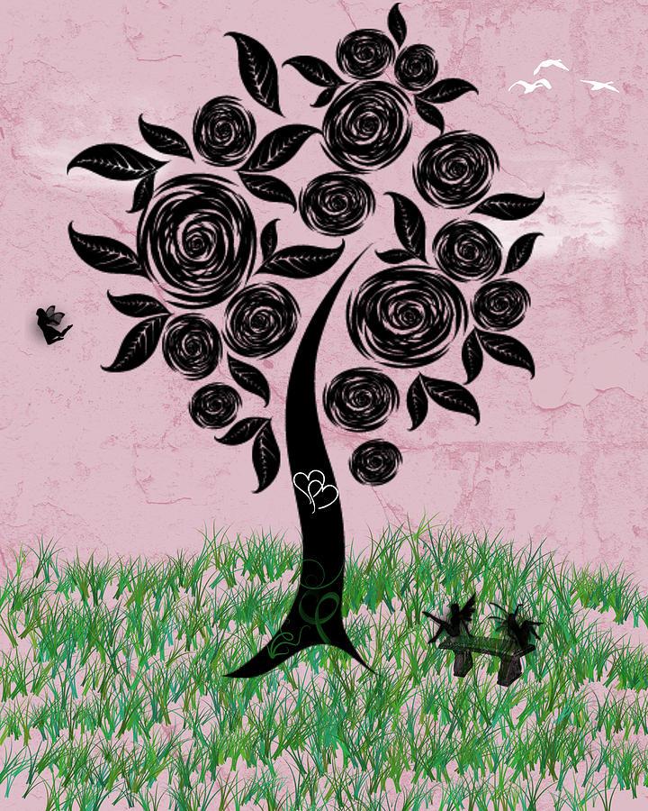 Beautiful Digital Art - Rosey Posey by Rhonda Barrett