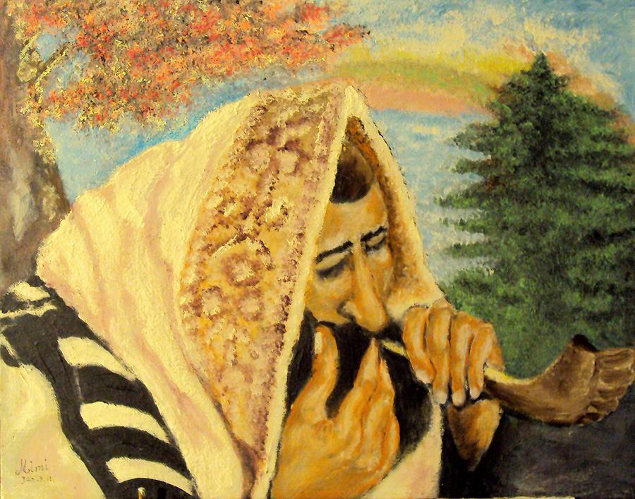 Jewish Symbol Painting - Rosh Hashanah by Mimi Eskenazi