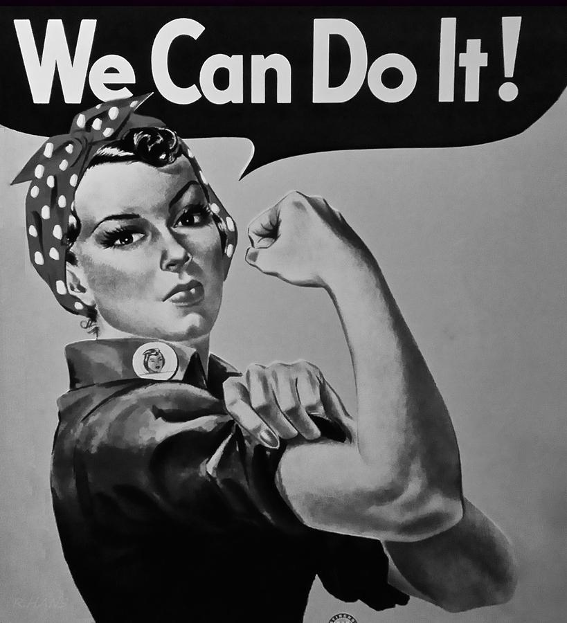 Rosie The Riveter Photograph - Rosie In Black And White1 by Rob Hans