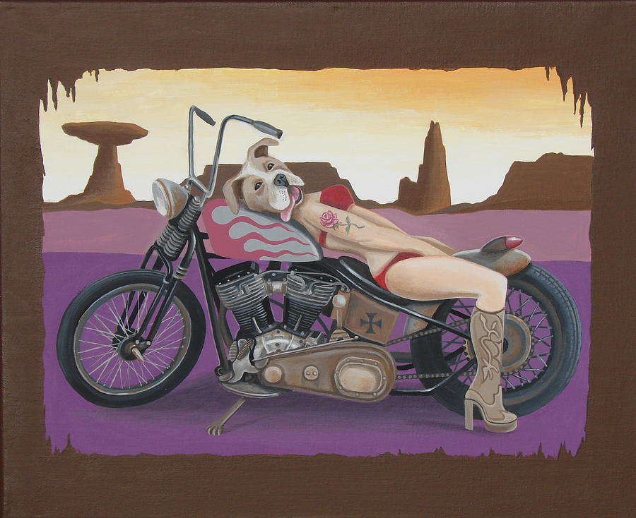 Motorcycle Painting - Rosie The Pitbull Pinup by Stuart Swartz