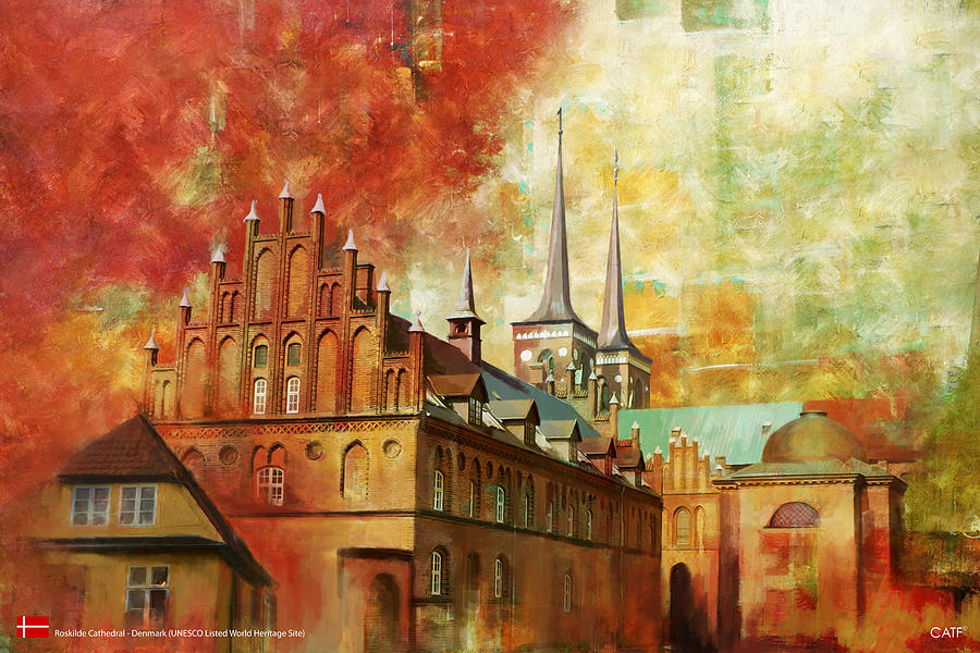 Denmark Painting - Roskilde Cathedral by Catf