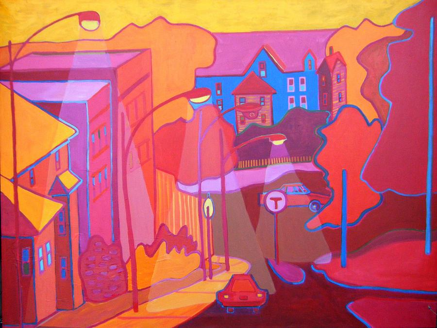 Cityscape Painting - Roslindale Never Looked so Red by Debra Bretton Robinson