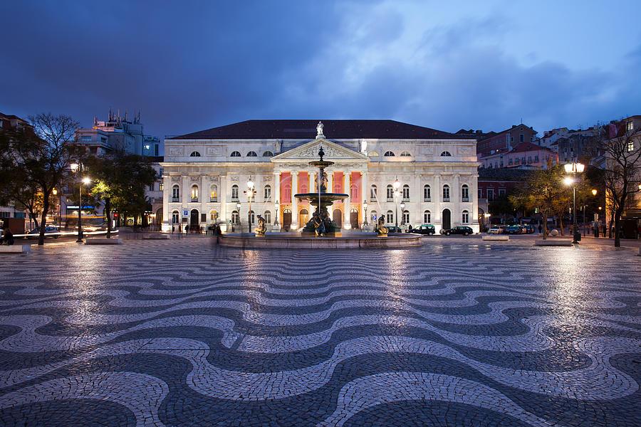 Lisbon Photograph - Rossio Square At Night In Lisbon by Artur Bogacki