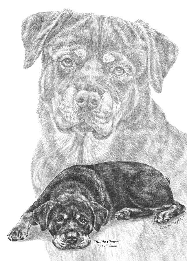 Rottie Charm - Rottweiler Dog Print by Kelli Swan