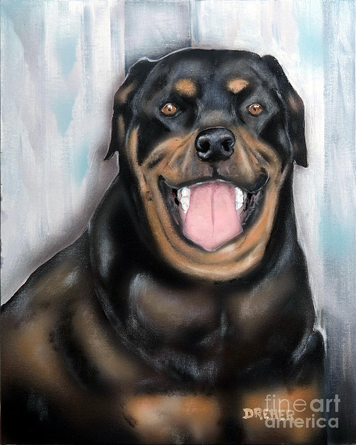 Dog Painting - Rottweiler by Chris Dreher