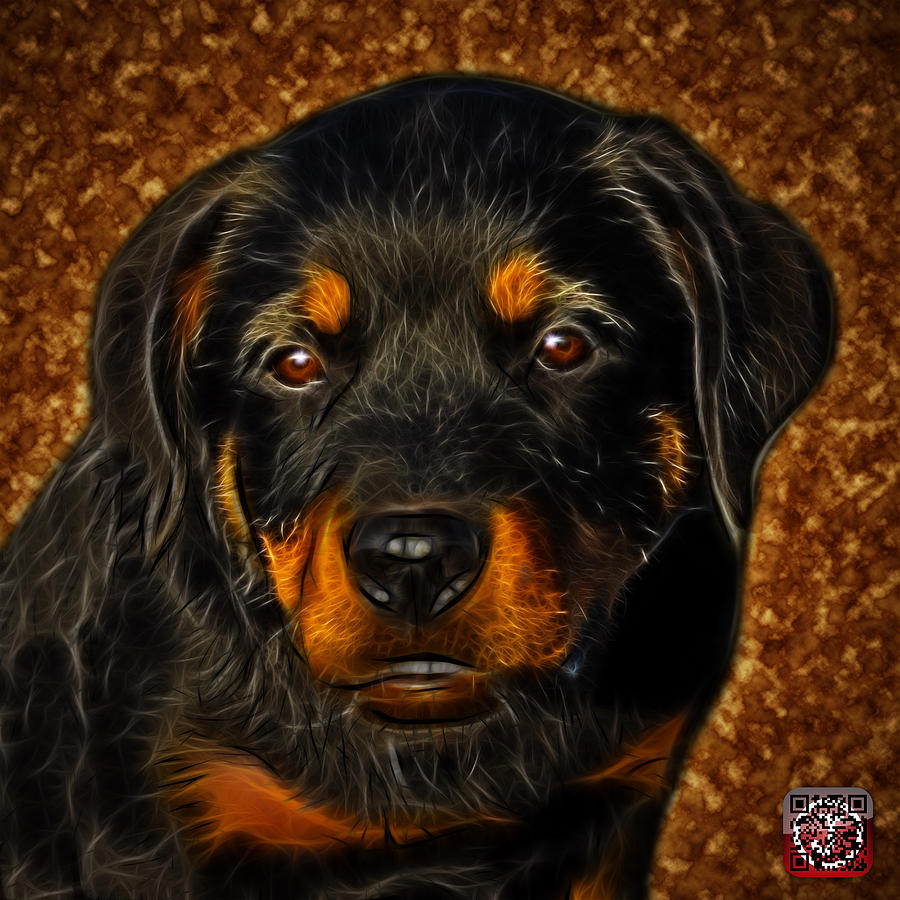 Rottweiler Pop Art 0481 - BC1 - Orange by James Ahn