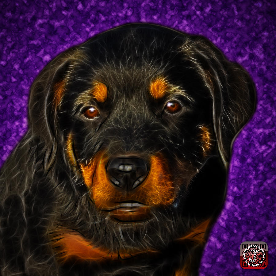 Rottweiler Painting - Rottweiler Pop Art 0481 - BC1 - Purple by James Ahn