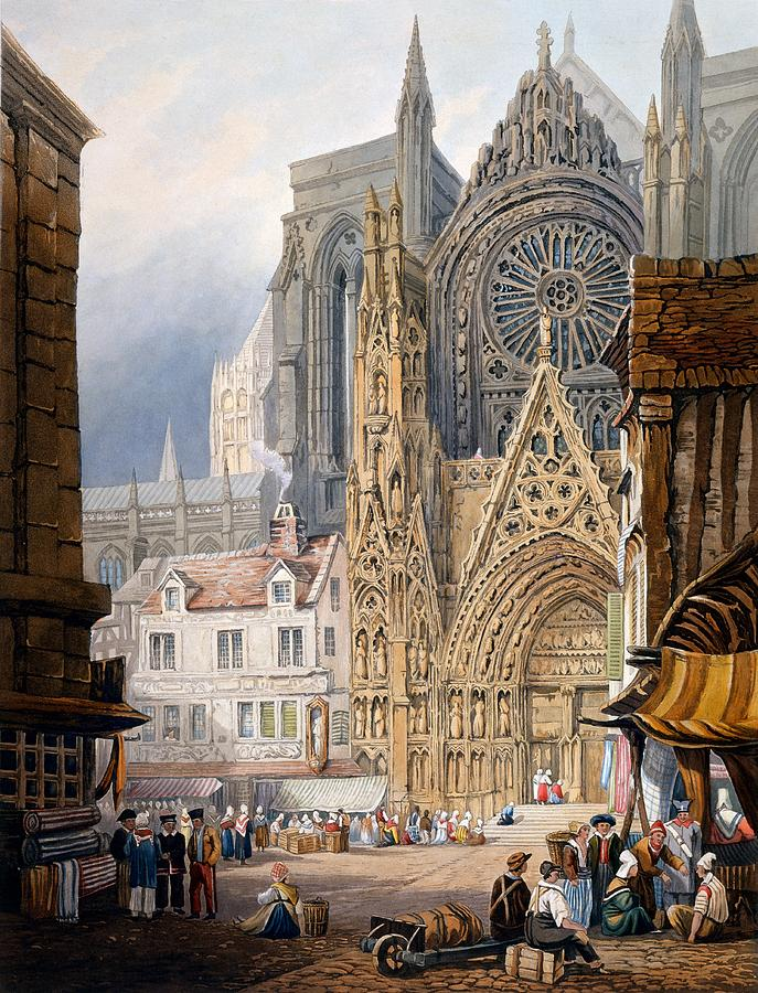 Rouen Cathedral Drawing By Samuel Prout
