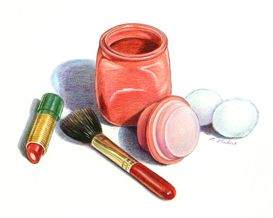 Cosmetics Painting - Rouge And Lipstick Still Life by Phyllis Tarlow