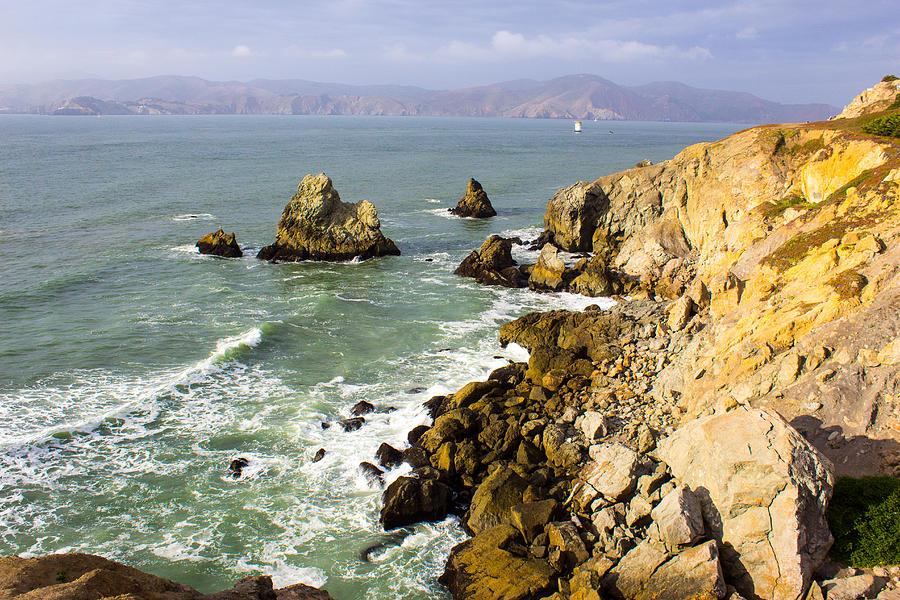 Ocean Photograph - Rough Californian Shore Near San Francisco Ca Cliff House 2 by Glen Matthew Laughton