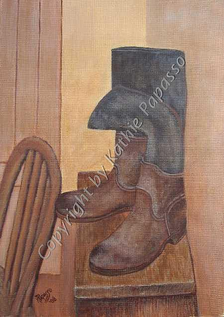 Work Boots Painting - Rough Day by Kathie Papasso