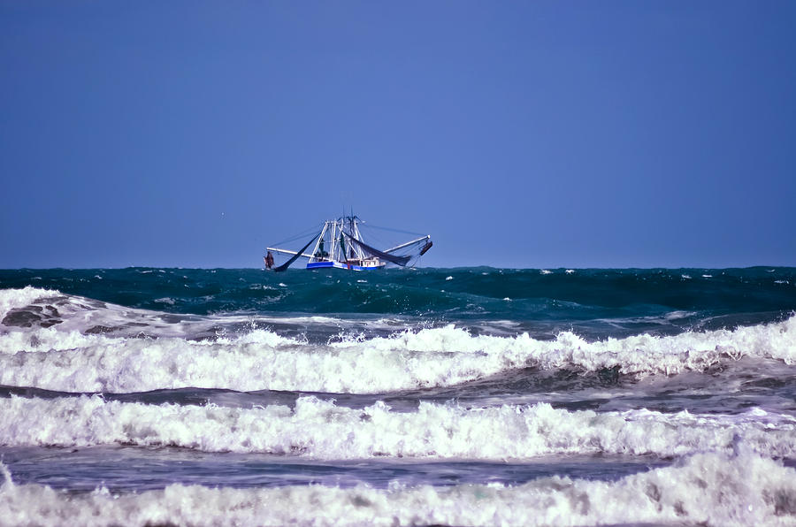 Boat Photograph - Rough Seas Shrimping by DigiArt Diaries by Vicky B Fuller
