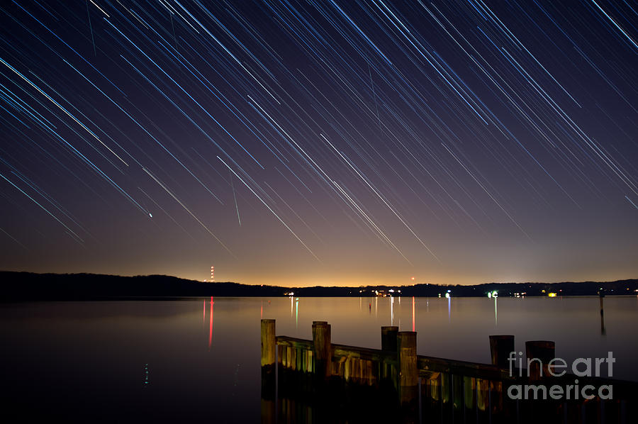Star Photograph - Round Bay Startrails And A Meteor Shower by Benjamin Reed