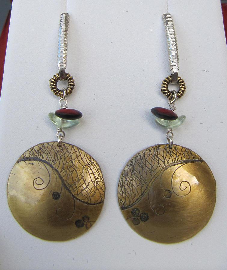 Earrings Jewelry - Round Etched Red Earrings by Brenda Berdnik