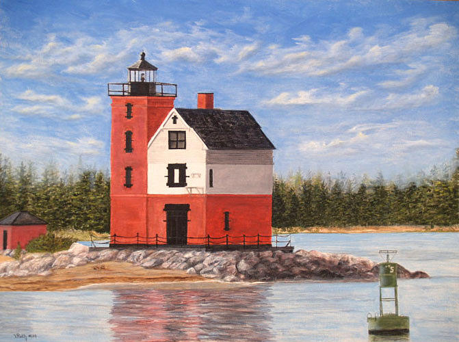 Round Island Light House Painting By Vicky Path