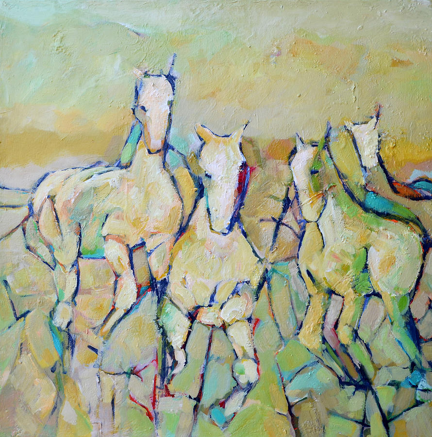 Horses Painting - Round Up by Filomena Booth