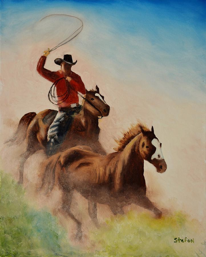Cowboy Painting - Round Up by Stefon Marc Brown