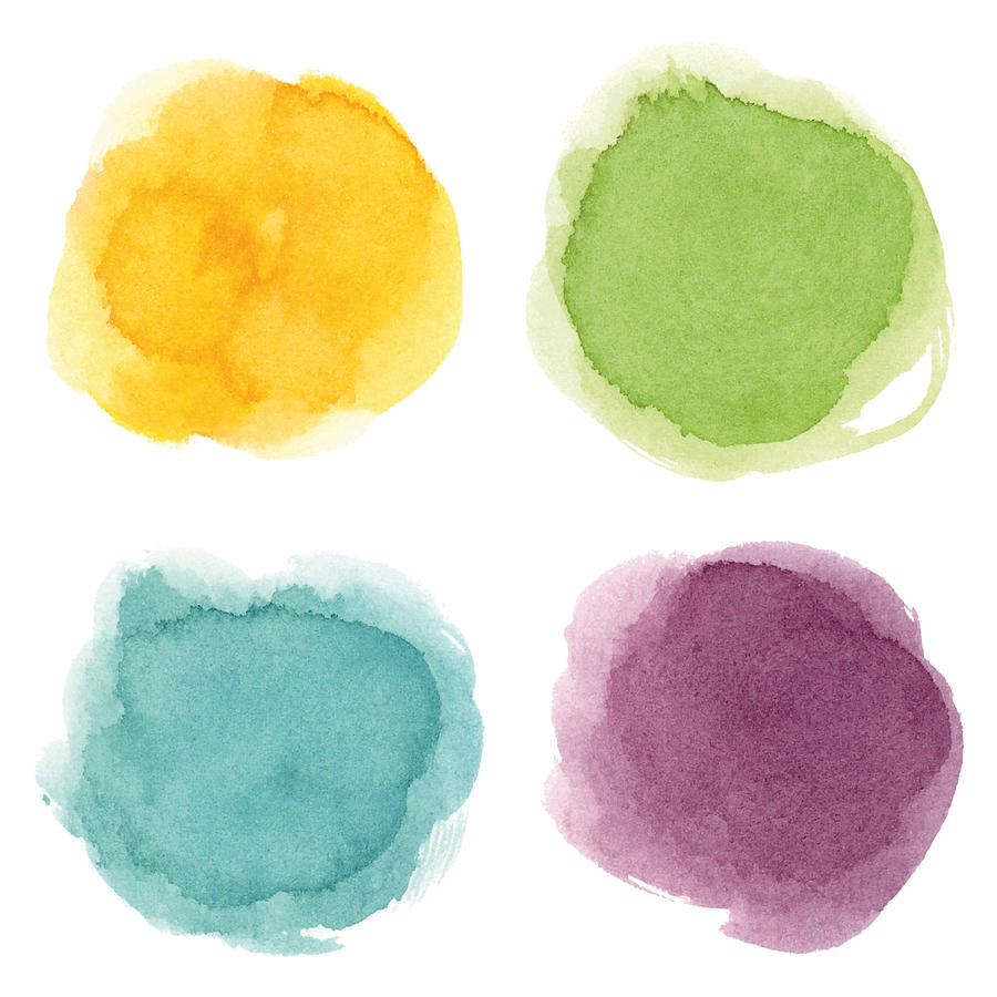 Round watercolor spots Drawing by Ollustrator