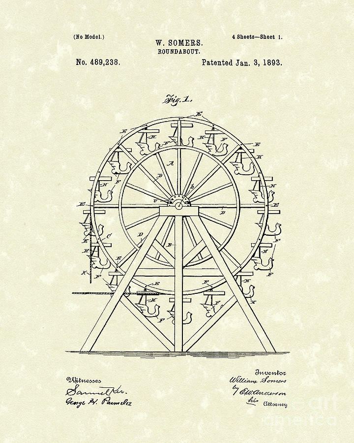 Somers Drawing - Roundabout 1893 Patent Art  by Prior Art Design