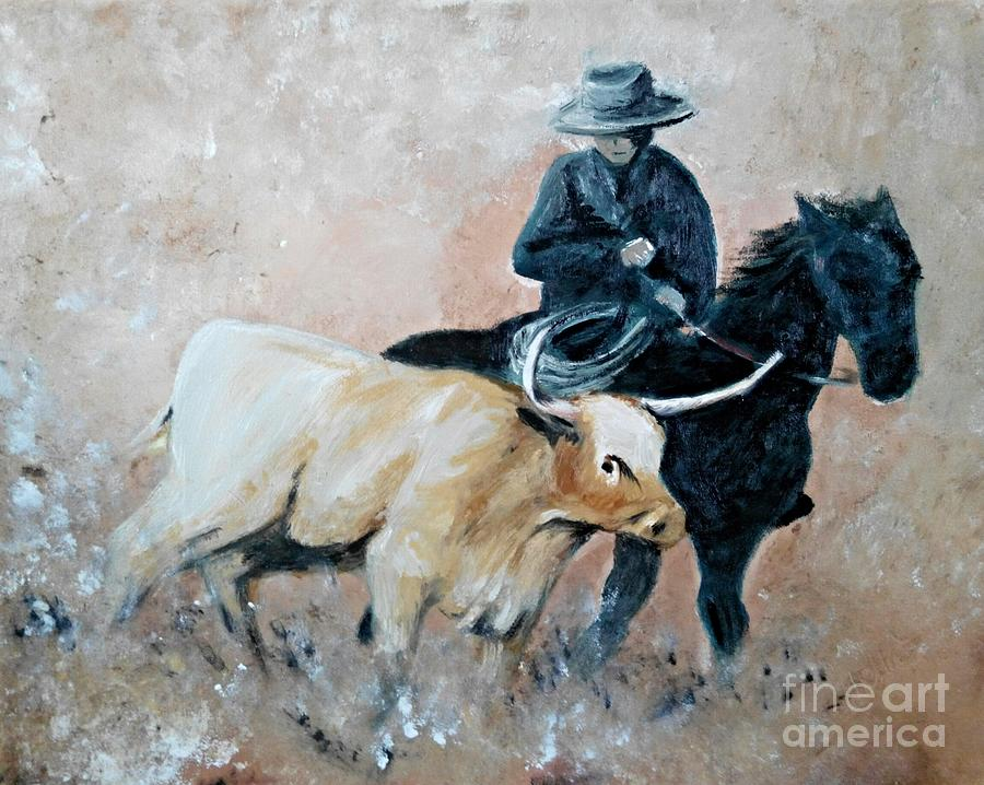 Cowboy Painting - Roundup by Abbie Shores