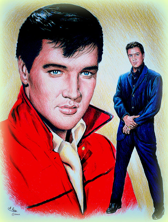 Elvis Drawing - Roustabout Color by Andrew Read