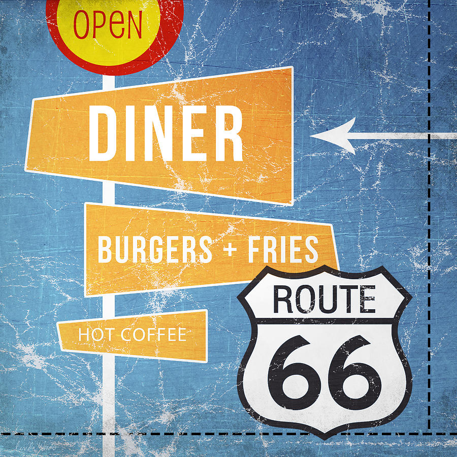 Diner Painting - Route 66 Diner by Linda Woods