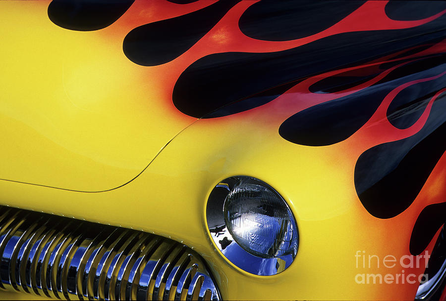 Flames Photograph - Route 66 Flaming Rod by Bob Christopher