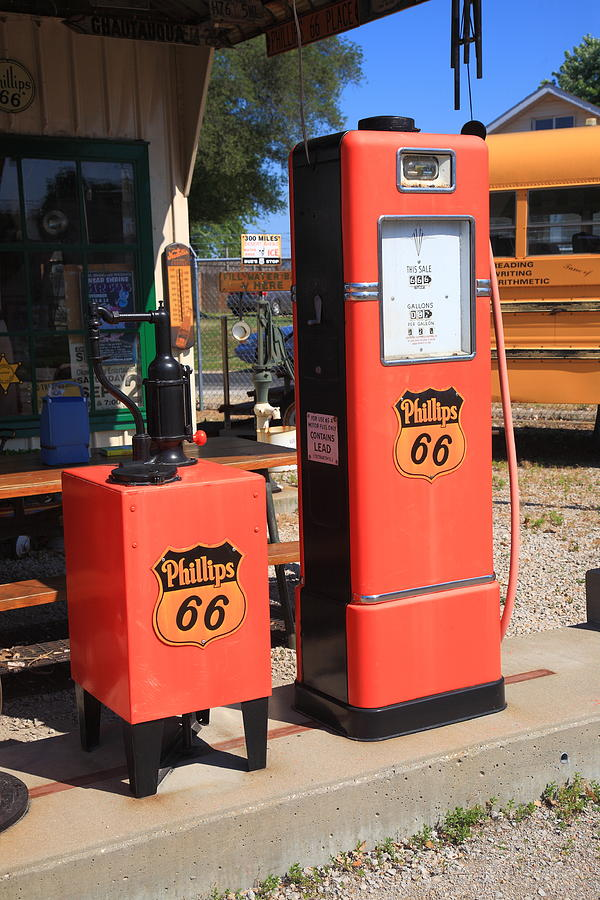 66 Photograph - Route 66 Gas Pumps by Frank Romeo