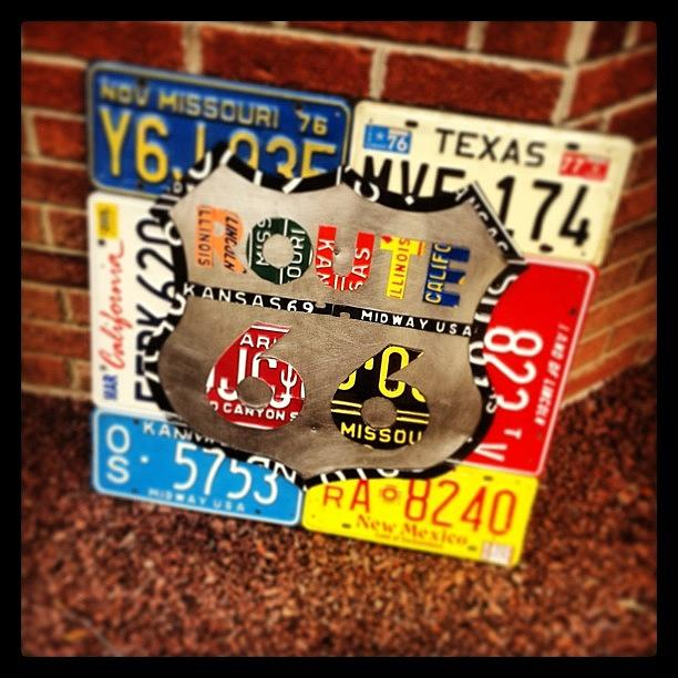 Route 66 License Plate Sign - Hanging Photograph by Design Turnpike