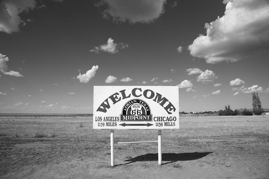 66 Photograph - Route 66 - Midpoint Sign by Frank Romeo