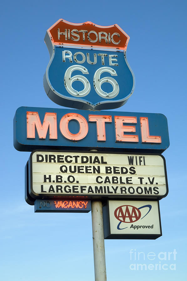 Flames Photograph - Route 66 Motel Sign 3 by Bob Christopher