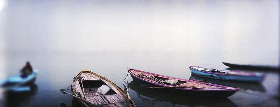Color Image Photograph - Row Boats In A River, Ganges River by Panoramic Images