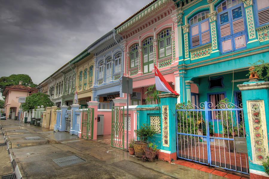 Peranakan Photograph - Row Of Historic Colorful Peranakan House by David Gn