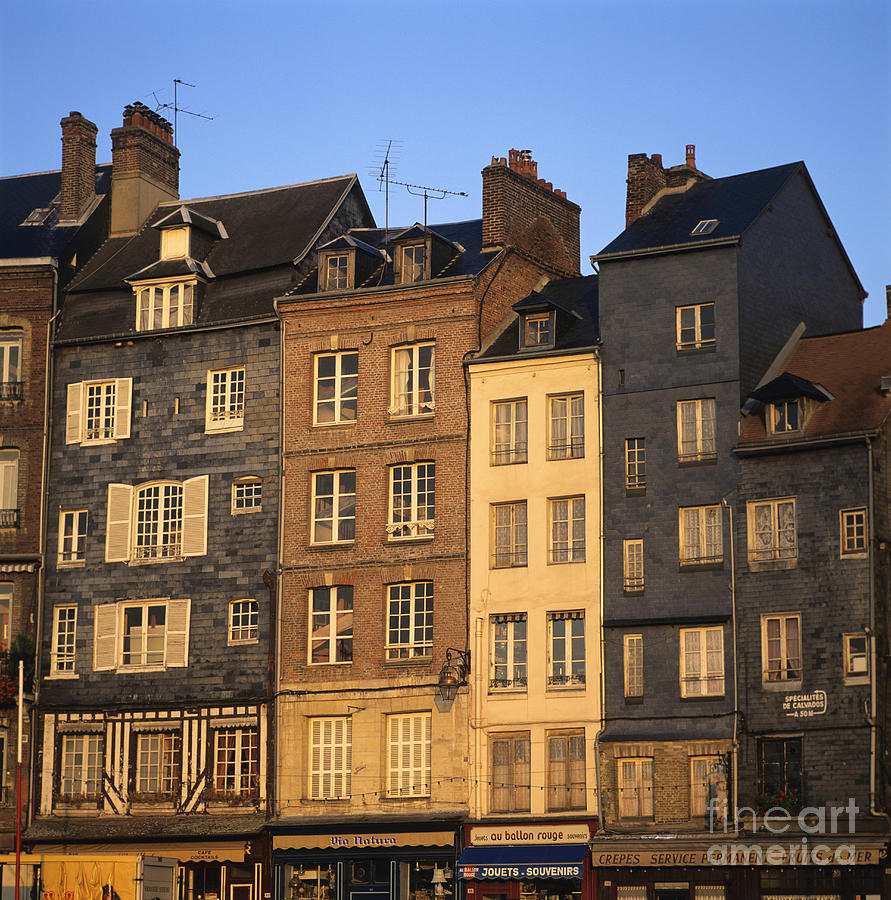 Row Of Houses. Honfleur Harbour. Calvados. Normandy. France. Europe Photograph by Bernard Jaubert