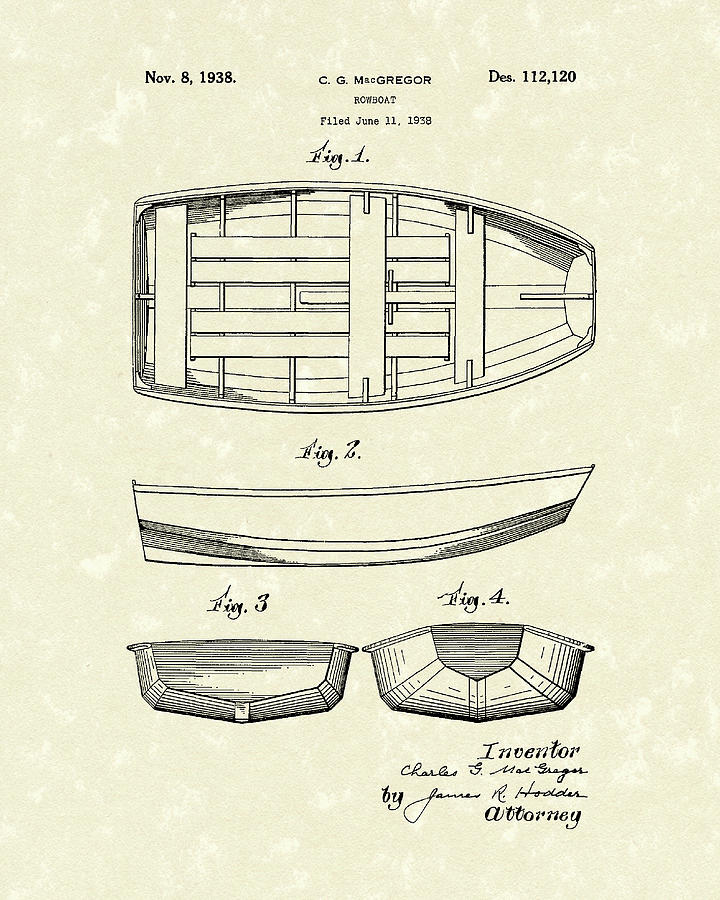 Rowboat 1938 Patent Art by Prior Art Design