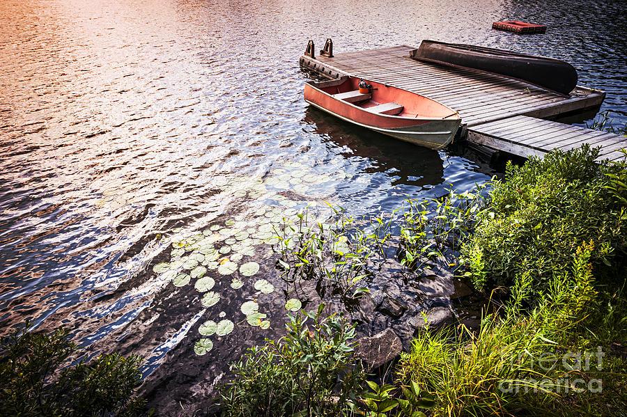 Boat Photograph - Rowboat At Lake Shore At Sunrise by Elena Elisseeva