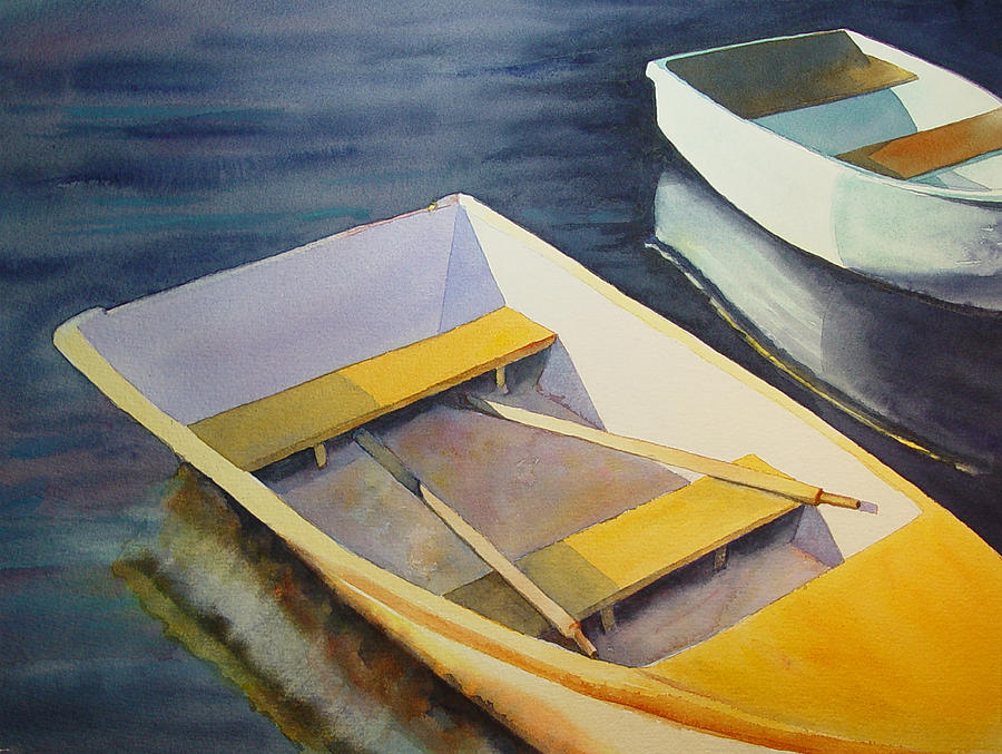 Water. Nature Painting - Rowboats by Sarah Buell  Dowling