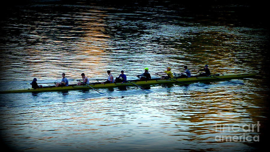 Rowers Photograph - Rowing On The River by Susan Garren
