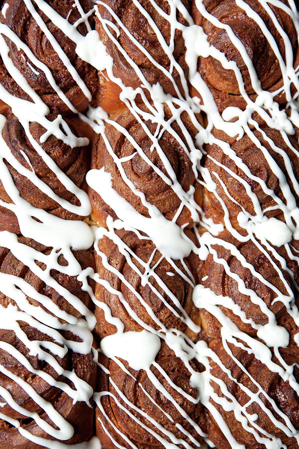 Rows Of Cinnamon Rolls, Full Frame Photograph by Halfdark