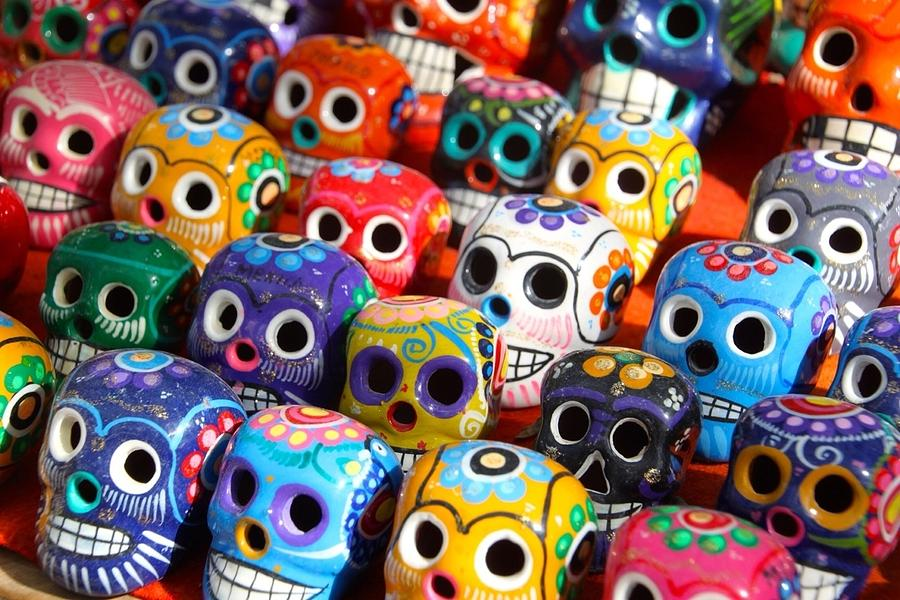 Rows Of Multi Colored Ceramic Skulls For Sale Photograph by Thomas Spencer / EyeEm