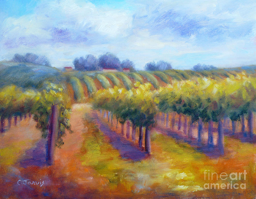 Winery Painting - Rows Of Vines by Carolyn Jarvis