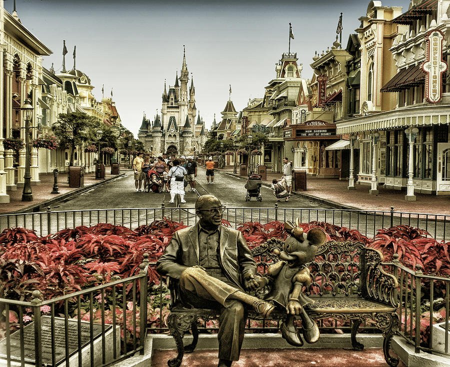 Magic Kingdom Photograph - Roy And Minnie Mouse Antique Style Walt Disney World by Thomas Woolworth