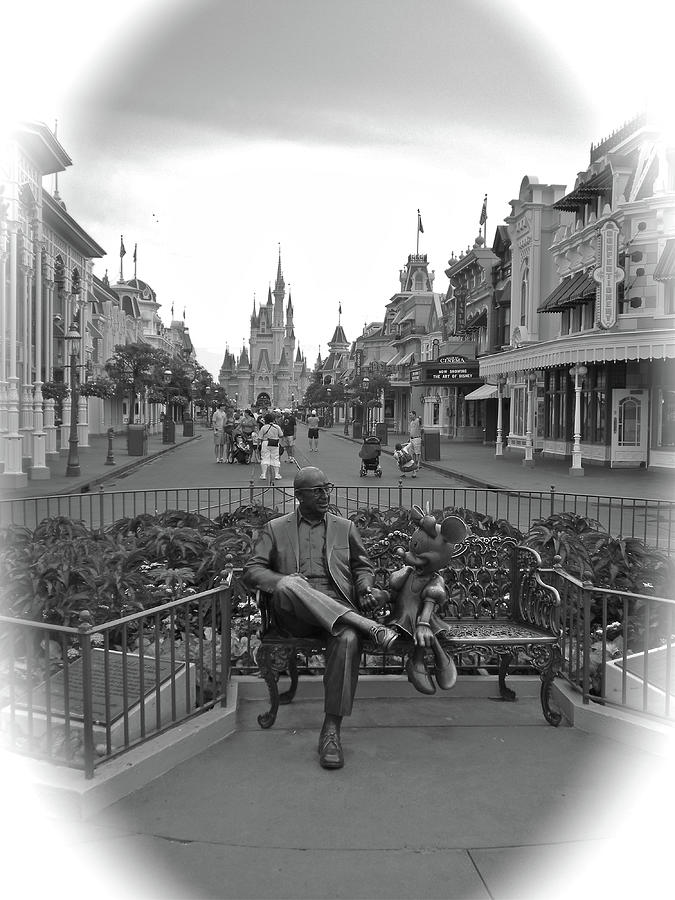 Black And White Photograph - Roy And Minnie Mouse Black And White Magic Kingdom Walt Disney World by Thomas Woolworth