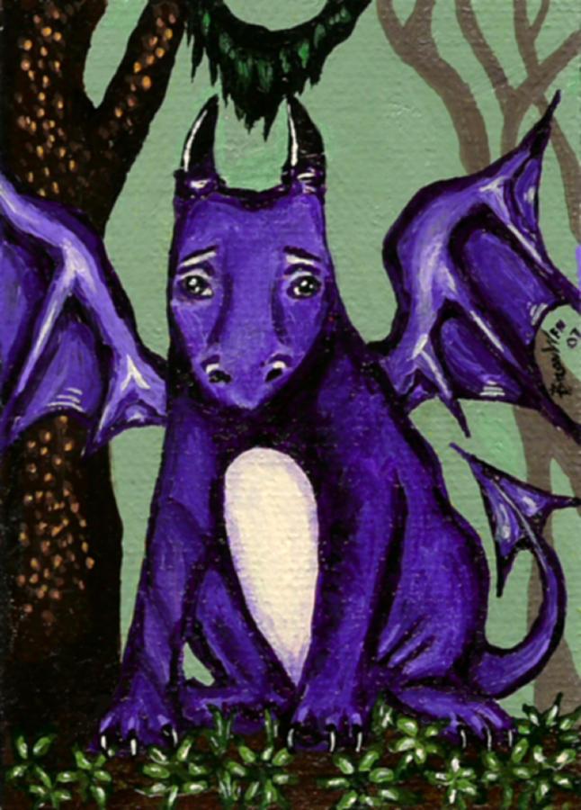 Dragon Painting - Royal Amethyst Dragon Pup by Bronwen Skye