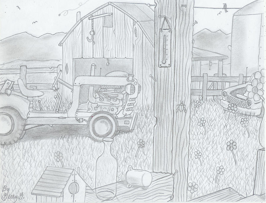 Old Barns Drawing - Royal Arkansas 1971 by Gerald Griffin