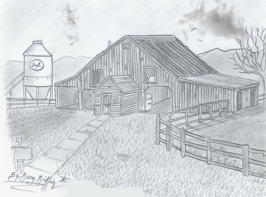 Rustic Barn Drawing - Royal Arkansas Back Roads by Gerald Griffin