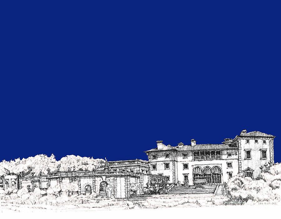Royal Drawing - Royal Blue Vizcaya In Miami by Building  Art