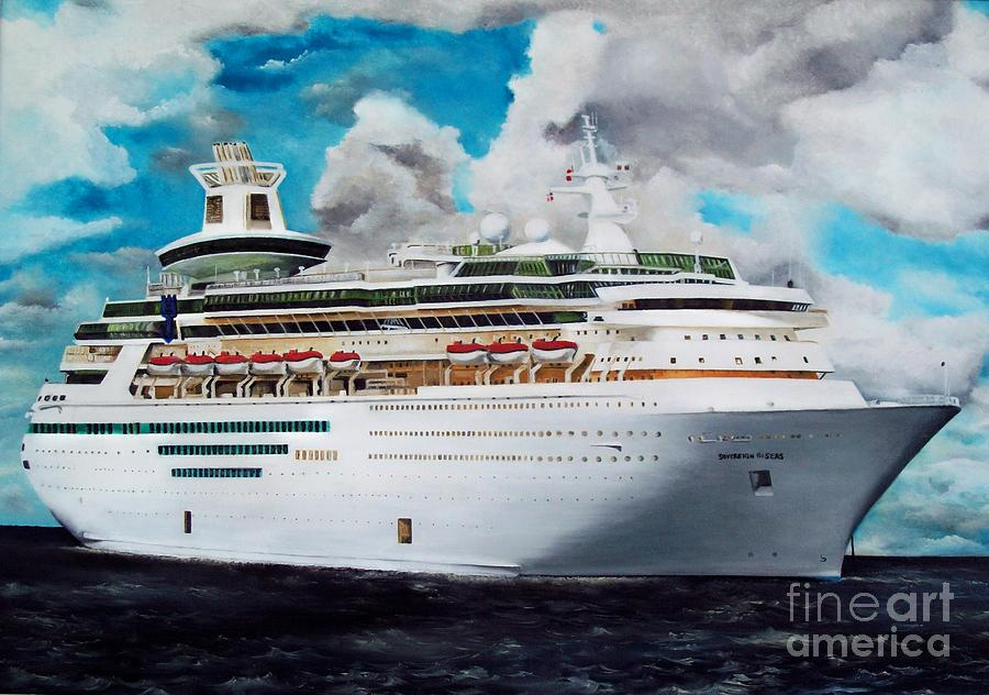 Ship Painting - Royal Caribbean Sovereign Of The Seas by Kenneth Harris