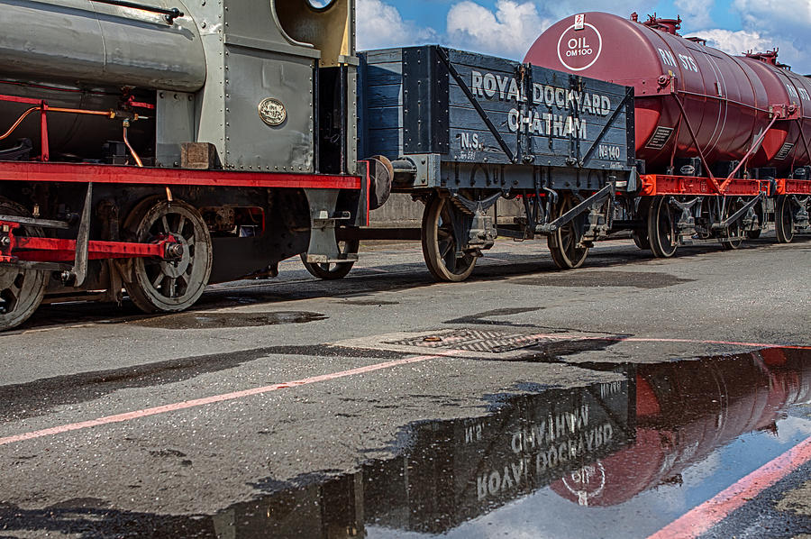 Train Photograph - Royal Dockyard Reflected by Nigel Jones